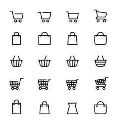 Shopping baskets line icons vector
