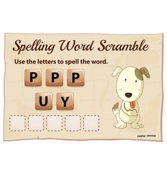 Spelling word scramble game with word puppy vector