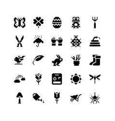 Spring and gardening icon set pixel vector