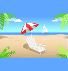 Sunbed with umbrella on sandy beach in summertime vector