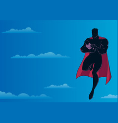 super dad with baby sky silhouette vector image
