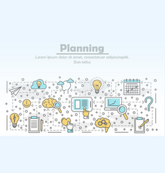 Thin line planning poster banner template vector