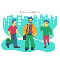 Three modern business men vector