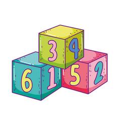 Toys pile cube blocks building cartoon vector