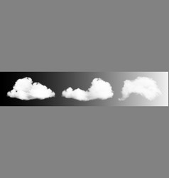 transparent clouds set white cloudiness vector image