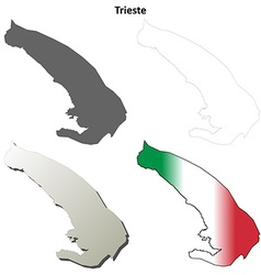 Trieste blank detailed outline map set vector