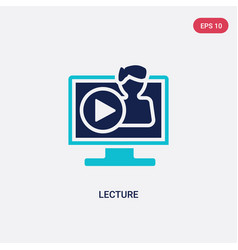 two color lecture icon from e-learning and vector image