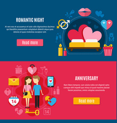 two valentines day banner set vector image