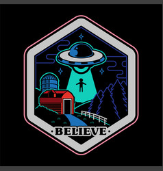 ufo space patch sticker print vector image