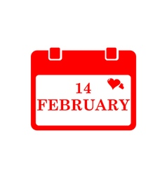 Valentine calendar icon in red color vector