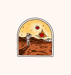 Vintage space logo exploration vector