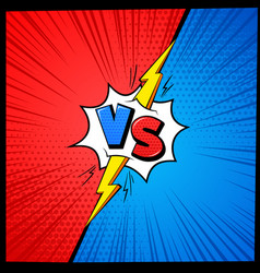 vs cartoon background versus letters comic book vector image
