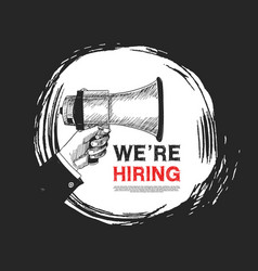 We are hiring concept design with hand holding vector