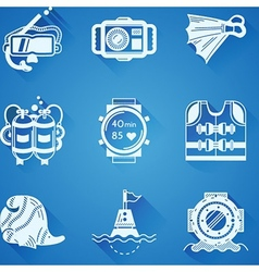 White icons collection of diving vector image