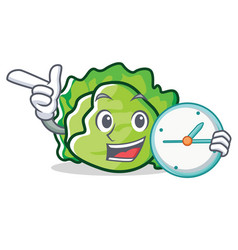 With clock lettuce character cartoon style vector