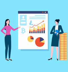 women financial experts confer on cryptocurrency vector image