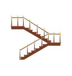 Wooden interior staircases with handrails half vector