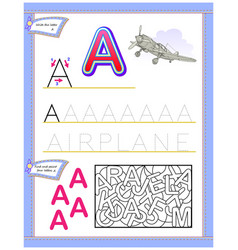 Worksheet for kids with letter a for study vector