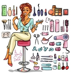 Beauty Salon cartoon collection vector image vector image