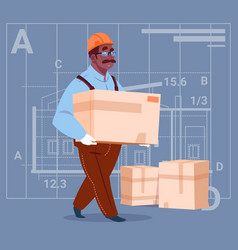 cartoon african american builder carry box wearing vector image vector image
