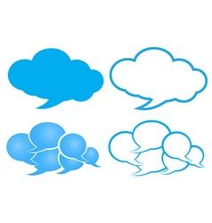 chat bubble in a cloud of blue and white with a vector image