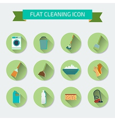Flat color set of icons House cleaning and laundry vector image vector image