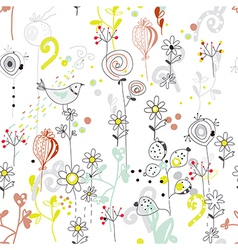 Floral seamless pattern with bird sketch vector image vector image