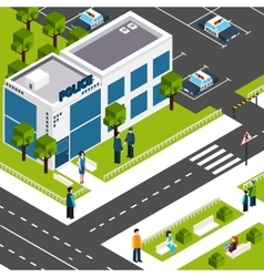 Police department station isometric poster vector image vector image