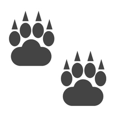 Bear foot tracks isolated steps vector image