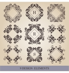 Calligraphic elements vintage set frame vector image vector image