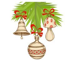christmas tree and ornaments retro christmas vector image vector image