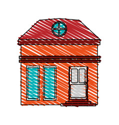 Color crayon stripe cartoon facade small house vector
