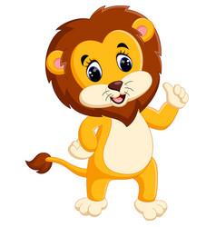 cute cartoon lion giving thumb up vector image