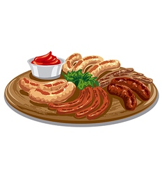grilled roasted sausages vector image