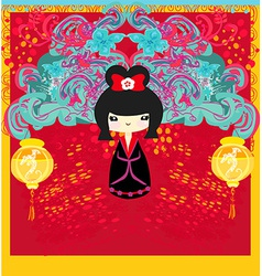Kokeshi doll on background with floral ornament vector image