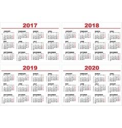 Set grid wall calendar for 2017 2018 2019 2020 vector image