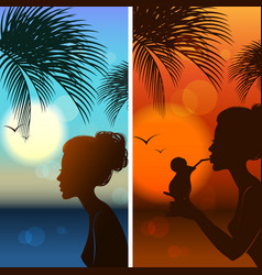 set of silhouetts of the girl vector image