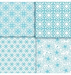 Simple floral blue color pattern set vector image