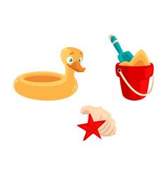 toy bucket shovel rubber duck ring sea shells vector image vector image