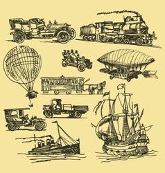 Vintage hand drawn transportation vector