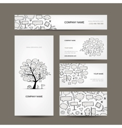 Business cards collection with frames tree design vector image