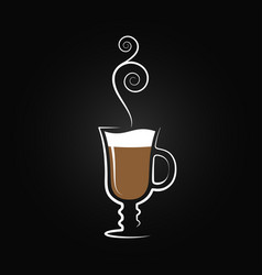 Latte logo coffee cup design background vector