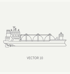 Line flat retro icon ocean tanker ship vector