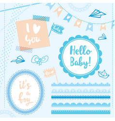 set elements hello baby boy vector image vector image