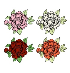 Set of ink style hand drawn colored roses vector image