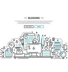 Blogging - line design website banner vector image vector image
