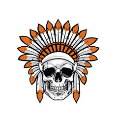 indian native american skull vector image vector image
