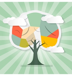 Retro Paper Tree with Clouds vector image vector image