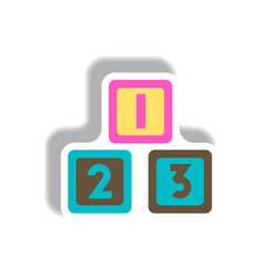 stylish icon in paper sticker style cubes toys vector image vector image