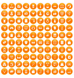 100 online shopping icons set orange vector